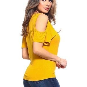 Rue 21 Yellow Cold Shoulder Top